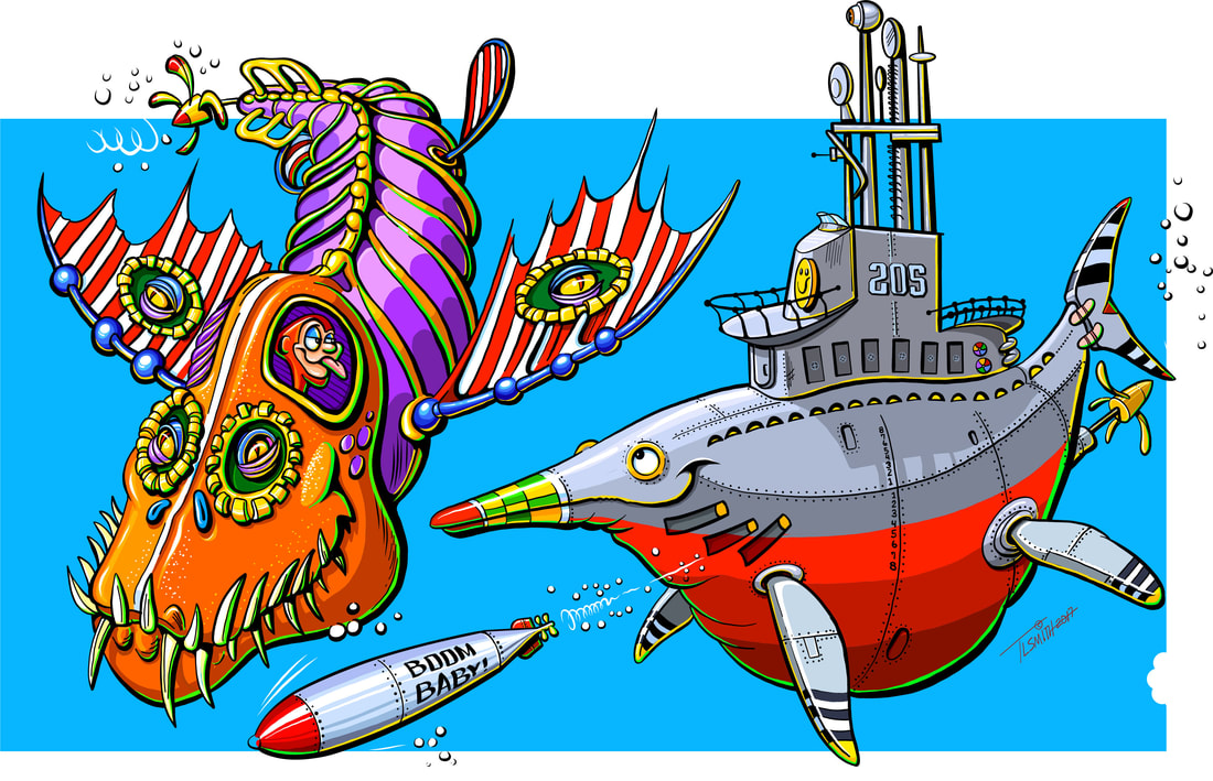 submarine, sea monster, fantasy, cartoon, funny