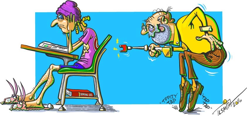 cartoon, education, cattle prod, teacher, student, colorful, funny