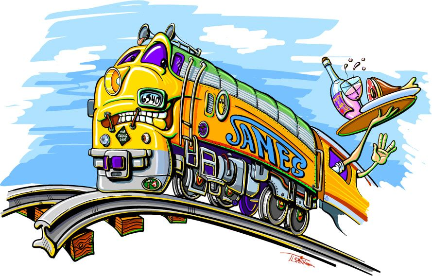 cartoon, train, colorful, funny, dinner train