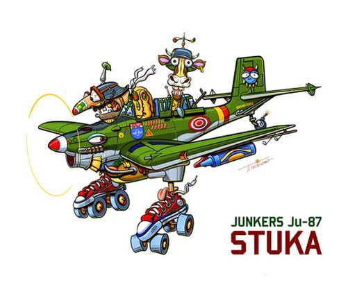 aviation, airplane, stuka, junkers 87, cartoon, t.l. smith, smartaleckart, funny, colorful, WWII