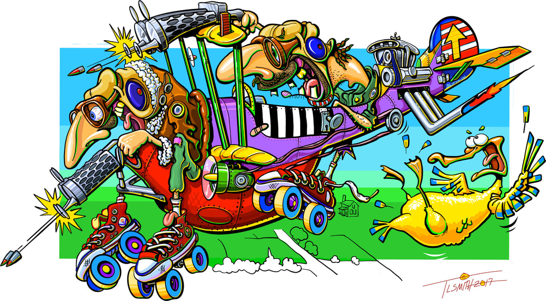 cartoon, bi-plane, hilarious, funny, colorful, t.l. smith, smartaleckart