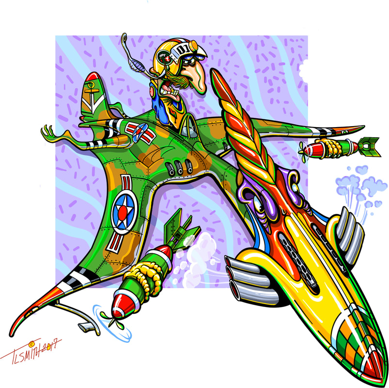 aviation, airplane, cartoon, funny, colorful, t.l. smith, smartaleckart